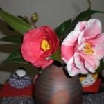 ピンク×白の華やかな紅白椿が今年も無事花開きました♪