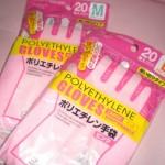 水垢に100均グッズ♪ピンクのポリエチ手袋&メラミンでカビ撃退中